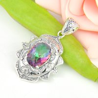 antique sterling silver charms - Holiday Gift Antique Oval Fire Rainbow Mystic Topaz Crystal Sterling Silver Plated Pendants Russia Australia USA Pendants Jewelry