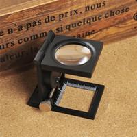 Escala plegable lupa LED de iluminación de luz de impresión de tela 12 aumentos Lupa lentes ópticas 1pcs Lupa 9005A