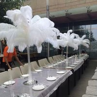 Wholesale Cheap White Ostrich Feathers cm inch Ostrich Plumage Dyed Plume Table Centerpieces Wedding Party Centerpieces Table Centerpiece