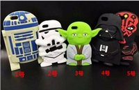 10PCS Star Wars caja del teléfono de la historieta 3D del personaje principal figura de Yoda de silicona suave Contraportada casos para Iphone5 6 6plus BFH812 Piel