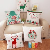 Wholesale 2015 Christmas Theme Pillow Case Linen Cushion Cover Santa Claus Reindeer Pillow Case Christmas Decoration