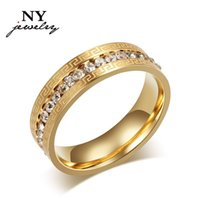 Wholesale Vintage charms k gold rings for women austrian crystals wedding ring stainless steel jewerly