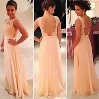 peach bridesmaid dresses - High quality nude back chiffon lace long peach color cheap bridesmaid dresses brides maid dress Formal evening gowns BD111