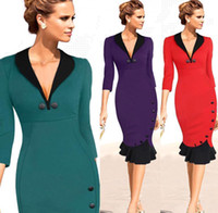 celebrity style dresses - New Women Dress with Long Sleeve Fashion Work Dresses Sexy Mermaid Dresses Celebrity Style Party Runway Dresses Mid Calf