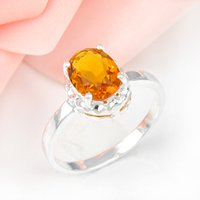 Cheap 5pcs lot Wholesale Holiday Jewelry Gift Party Jewelry Gift Oval Brazil Citrine Gemstone 925 Sterling Silver Ring USA Size 7 8 9