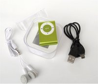 Wholesale metal clip mp3 player best gift with mini clip and GB TF card mp3 player gb memory earphone usb crystal box