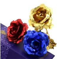 Wholesale Lover s Flowers K Golden Rose Wedding Decoration Golden Flower Romantic Valentine s Day Decorations Gift Gold Rose By dhl YM0078
