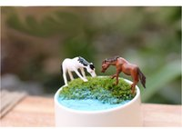 Wholesale sale white and brown horses doll house miniatures lovely cute fairy garden gnome moss terrarium decor crafts bonsai DIY s025