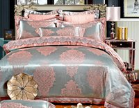 Wholesale Home Textile Jacquard Embroidery Bedding bed Silk Satin Quilt Duvet Cover Wedding Bedding Sets