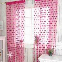 Wholesale New Arrival Wedding Decoration Window Curtain Romantic Style Peach Heart Line Shade Door Curtain ZYX