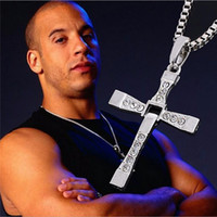 Wholesale The Fast And The Furious Vintage Jewelry Punk Necklace Trendy Male Cross Crystal Necklaces Pendants Men Sterling Silver Jewelry