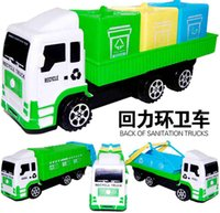 Wholesale Mini Children Garbage Truck Sanitation Trucks Toy Car Model with Trashcan for kids gifts back of sanitation trucks for USA UK