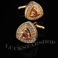Wholesale Golden Zircon Cufflinks Men s Crystal Cuff Links French Men s Jewelry Gifts Wedding