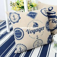 Wholesale 3x1pc Fine Linen Decorative Pillow Case Pillows Cushion Case Cover Boat Instrument Printed Home Textile