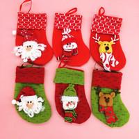 santa ornament - New Style popular Christmas stocking bag Santa Socks candy bag cute Christmas Socks ornaments Party Supplies E250