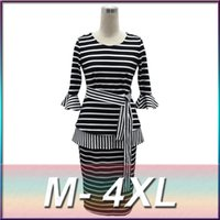 Wholesale High Quality Autumn European and American Women New Black and White Striped Two piece Dress Plus Size M XL