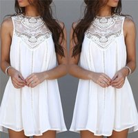 long casual dresses - New Arrivals Women s Lady s Mini Dresses Long Tops Chiffon Lace Crochet Sleeveless Casual Plus Size ED233