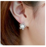 genuine diamond earrings - 2015 fashion jewelry double sided studs earrings for women piercings crystal South Korea imported genuine star diamond jewelry accessories s