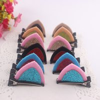 Wholesale Cute cat rabbit ears hair clips for children girls colors fabric hair accessories cm clips