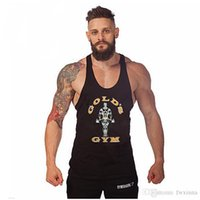 Wholesale Hot Sales Gold s Gym Tank Top Men Sleeveless Shirt Bodybuilding Stringer Fitness Men s Cotton Sports Singlets Muscle Clothes Plus Size