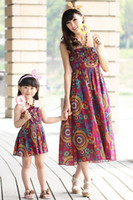 autumn sun skirt - Mother and Daughter Matching New Floral Rrint Long Dresses Bohemian Sun Dress Hot Ethnic Rrint Dress Parent Child Sweet Flower Skirt Condole