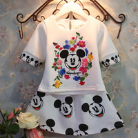 Wholesale Mickey Summer Baby Girls Sets Clothing Cute Minnie Mouse Cartoon T Shirts Tops Print Floral Skirts PC Suits Children Costume