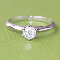 certified diamond ring - Solid K White Gold GIA Certified F Color SI2 Natural Diamond Engagement Wedding Ring For Women