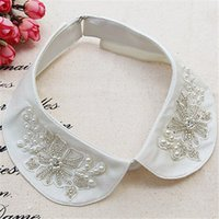 beautiful peter - New Women Peter Pan Round Collar Beautiful Embroidery Pearl Flower Detachable Collar SC061
