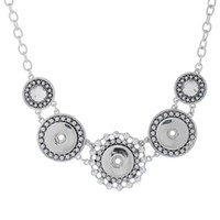Wholesale Snap Button Noosa Chain Necklace length cm Women Antique Silver Jewelry for Party Jewelry drop shipping J8113