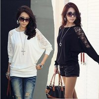 Wholesale Women s Blouse Dolman Batwing Sleeve T Shirt Korea New Fashion Loose Tops Round Neck Cotton Lace S XL Plus Size