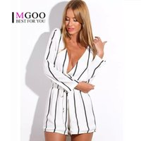 white jumpsuit women - MGOO Summer Style Women Jumpsuits and Rompers White Sailers Print Long Sleeves Beach V Neck Cotton Rompers
