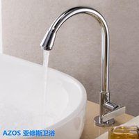 balcony decks - AZOS Classic Spout Chrome Silver Finished Brass Deck Mounted Single Cold Hole Basin Tap Sink Faucets For Bathroom Kitchen Balcony Mop Pool