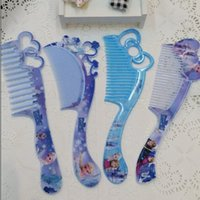 plastic hair comb - Frozen Girls Hair Brush Cartoon Combs Princess Anna Elsa Children Make up Hair care Plastic Comb Brushing with retail package DHL free