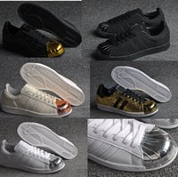 silver flats - 2015 Newest Limited Edition womens and mens Superstar s Metal Toe gold and silver sports shoes top quality running shoes lovers sneakers