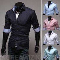Wholesale Mens Slim fit Unique neckline stylish Dress short Sleeve Shirts Mens dress shirts
