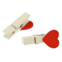 Wholesale Cute Wooden Mini x20 Cute Heart Shaped Wooden Photo Clips x1 cm