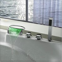 bath tub filler - New Arrival Golden Colorful LED Light Tub Faucet Bath Filler water fall chrome faucet