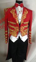 Wholesale New Film Fit Red Best Man Suits Groom Tuxedos Tailcoat Men s Gold embroidery LAPEL Suit Groomsman Tailcoat Wedding Prom Mag Jacket Pants
