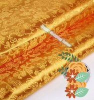 antique dolls clothes - 2m width cm AAChinese clothing Brocade cloth doll dress costume Hanfu antique garments fabrics brocade Deep gold