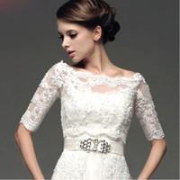 Wholesale 2015 New Wedding Bolero Lace White Ivory Wedding Jackets Sequins Half Sleeve Bridal Warps Custom Made