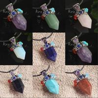 amethyst - Charm Silver Plated Amethyst Lapis Lazuli Crystal Hexagon Shape Stone Beads Chakra Healing Point Pendulum Pendant Jewelry