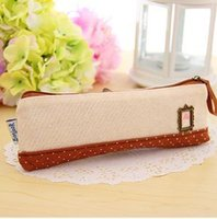 Wholesale New fluid photo frame dot pencil case stationery bags fabric pencil bags