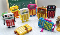 Wholesale hot cartoon figure handy digits Korea robot Multi function calculator Christmas gifts idea mix color
