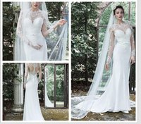 adorn wedding dress - 2016 sheath chiffon dress full illusion sleeves sheer neck and illusion open back edged with lace adorns the bodice Vaughn Wedding Dresses