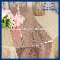 Wholesale RU017E1 Nice glitter heavy beaded metallic sequence rose gold sequin table runner