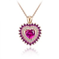 Wholesale S925 heart shaped crystal pendant Korean fashion silver pendant necklace red corundum gemstone pendant