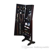 Wholesale Wall Door Mount or Floor Standing Mirrored Jewelry Cabinet Jewerly Armoire Stroage Organizer Stock in USA