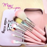 Wholesale high quality Set Hello kitty Make Up Cosmetic Brush Kit Cartoon Makeup Brushes Set in Metal Case Birthday Gifts Free DHL