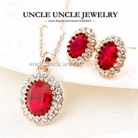 Wholesale 18K Rose Gold Plated Austrian Crystal Red Ruby Erstwhile Memory Retro Lady Jewelry Set Necklace Earrings krgp
