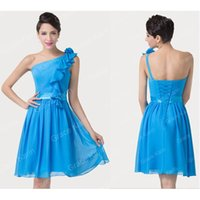 Cheap Bridesmaid Dresses Under 50 Plus Size Sexy Short Crystal Prom Dresses One Shoulder Backless Lace Up Sash Beach Party Gowns 2015 Cheap